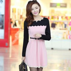 Buy 'Ringnor – Scalloped-Trim Color-Block A-Line Dress' with Free International Shipping at YesStyle.com. Browse and shop for thousands of Asian fashion items from China and more!