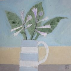 Hosta flower & Leaves Hosta Flower, Teaching Art, Painters, Watercolors, Flower Art, Still Life, Pots, Bouquet, Leaves