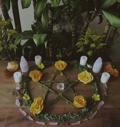 Pentacle on wiccan altar - Wicca - Wikipedia Autel Wiccan, Wicca Altar, Wiccan Decor, Green Witchcraft, Hedge Witch, Baby Witch, Eclectic Witch, Modern Witch, Witch House
