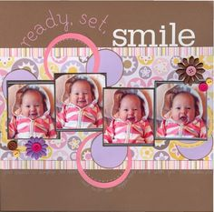 Ready, Set, Smile. Don't usually pin scrapbook layouts, but this is soo cute!