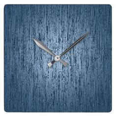 Scratched Marble Blue Square Wall Clock - marble gifts style stylish nature unique personalize