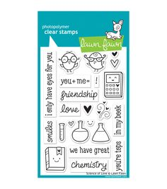 You will have perfect chemistry with this geek chic set of 23 clear stamps. This set contains cute nerd birds, a smiling calculator, book, beakers, and lots of sentiments to match. This stamp set coor