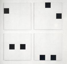 abstracsion:  Francois Morellet, '4 repartitions aleatoires de 2 carres suivant les chiffres 31 41 59 26 53 58 97 93', 1958
