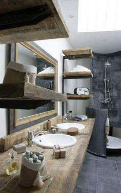 Béton ciré dans une salle de bain rustique http://www.homelisty.com/beton-cire-salle-de-bain/