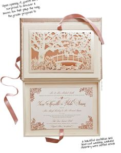 3) Invitations - Upon opening it, guests were surprised to discover a music box that plays the song the groom proposed to. A beautiful invitation and laser-cut wedding weekend itinerary were nested inside.