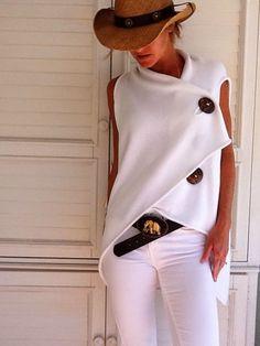 PMS Sleeveless Tops White / s Commuting Irregular Sleeveless Splicing Single-Breasted Loose Tops Look Fashion, Diy Fashion, Womens Fashion, Fashion Trends, Ladies Fashion, Street Fashion, White Fashion, Fashion Spring, Trendy Fashion