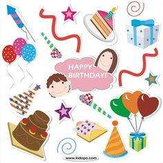 Free birthday Celebration printable stickers