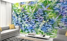 customize 3d luxury wallpaper Beautiful purple lavender watercolor painting wallpaper for walls 3 d photo wall murals #Affiliate