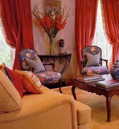 2004 - sitting room, with curtains and trim. Candlewick Interiors