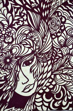 Papercut Art Print visage de femme Fashion par LagoDosSonhos