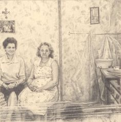 """""""Two women in a room"""" by Jay Senetchko. Graphite on paper 3"""" x 3""""  #PhantomsNeverKnown a miniature artwork exhibition, Friday April 25th at The Burrard Hotel."""