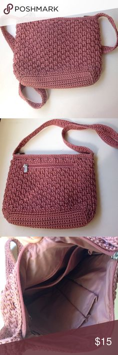 CLOSET CLOSING The Sak Crochet Handbag Dusty Rose-colored crochet handbag worn lots of inner compartments. The Sak Original brand, though very boho like Free People!  PRICE IS LOWEST- closet closing to go back to school soon!!!  The Sak Bags Shoulder Bags