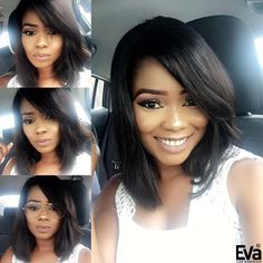 Smile can beat everything! Love your sweet smile! @berbiedoll Wig details:  Wig code: sk1576 Hair length: 14inches Hair color: #1B off black  Hair density: 130% Purchase here: ➡www.evawigs.com #evawigs #eva #haircolor #hairstyle #hair #bob #lob #smile #lovely #hairinspiration #hair