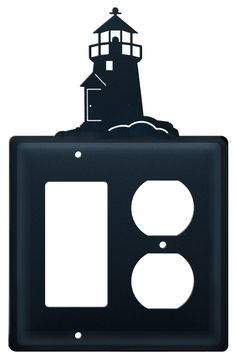 Wrought Iron Double GFI & Outlet Electrical Wall Plate. This decorative electrical cover plate features a Lighthouse silhouette that is centered on the plate. Made in the USA.