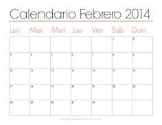 Organiza tu mes con estos lindos calendarios imprimibles: Calendario Febrero 2014