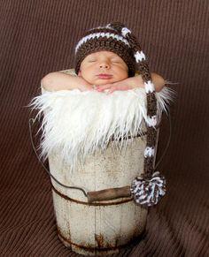 Newborn Striped Elf Hat with Pom in Brown by SkyeKnitsforBabies