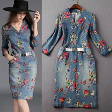 Buy Fashion New Women's Washed Denim Dress Long Slim Casual Jean Dresses Floral printed S at Wish - Shopping Made Fun Elegant Dresses For Women, Elegant Prom Dresses, Beautiful Dresses, Casual Dresses, Fashion Dresses, Denim Dresses, Long Tight Prom Dresses, Dress Long, Ukraine