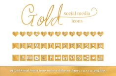 39 Gold Social Media Icons by dreamincolorstudio on Etsy, $4.00