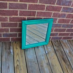 Teal Blue Mirror /Dark Walnut Stain Accent / Distressed /Shabby Chic / Upcycled. $29.99, via Etsy.