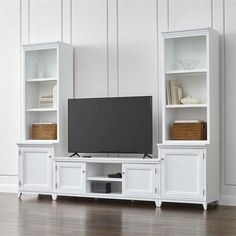 Harrison 5-Piece White Entertainment Center/Open Bookcases - Crate and Barrel