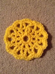 Yellow coaster that I crocheted