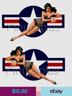 Pinup Girl Waterslide Decals USAF Air Force Star For Smooth surfaces Pin Up Girl Tattoo, Pin Up Tattoos, 1950 Pinup, Pin Up Pictures, Pin Up Drawings, Pin Up Girl Vintage, Pin Up Posters, Tattoos Skull, Airplane Art