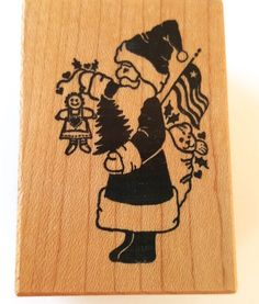 Rubber Stamp PSX D-350 Santa USA flag tree gingerbread man RARE Christmas New #PSX #ChristmasinJuly