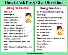 Simple Ways of Asking For and Giving Directions in English - English Study Online English Learning Spoken, Learning English For Kids, Teaching English Grammar, English Grammar Worksheets, English Writing Skills, Grammar And Vocabulary, Grammar Lessons, English Language Learning, English Vocabulary