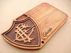 Tábua de carne em madeira para churrasco personalizada time Fluminense - Adrishop - Sua Loja de Variedades