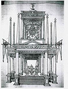 Exequias De Carlos V En México, Túmulo Erigido En El Patio Del Convento De  San