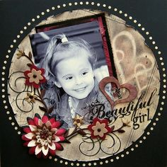 Beautiful scrapbook layout. Love the cut out circle and use of black.