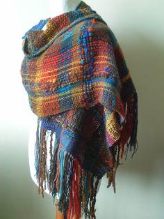 Unique Handwoven Shawl - Woven Shawl - Hand Weaving - Rustic - Saori Weaving…