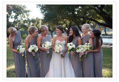Grey One Shoulder Bridesmaid Dresses