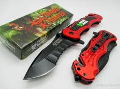 440 stainless steel blade, zombie hunter style design Fast & smooth operating spring assisted knife Stainless steel removable Belt metal clip for carry