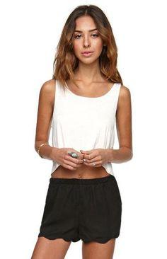 A white tank top with LA hearts scalloped shorts #pacsun