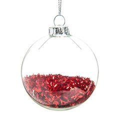 Boule de Noël en verre rouge D 6 cm PLUIE DE PAILLETTES