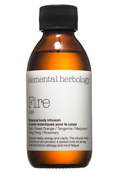 Elemental Herbology Fire Zest Botanical Body Infusion Massage Oil energizes the skin with yang-boosting botanicals such as basil, sweet orange, and rosemary.