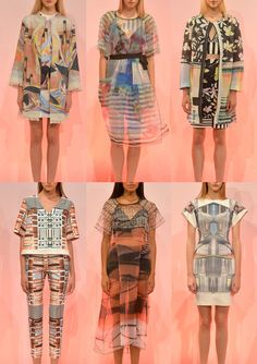 Clover Canyon S/S 2014-Translucent Prints – Overlaid Pattern Forms – Pastel Tribal – Print Mesh Effects – Gradient Plays – Modern Bauhaus – Soft Mirrored Pattern