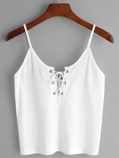 6f3d04217ab17 http   es.shein.com White-Ribbed-Lace-. Lace Up Tank TopCami ...