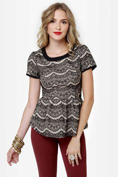 "When the lace a Always Charming Lace Peplum Top! Beige provides the perfect backdrop for a black lace overlay, plus scoop neckline and sweet peplum waist. Short sleeves and black back panel bring this classy look to a close. Hidden back zipper. Unlined. Model is wearing a size small. Small measures 23"" long. 8.5"" sleeve (from neckline). 27"" waist. 30"" bust. Shell: 100% Nylon. Polyester lining. Hand Wash Cold. Imported."