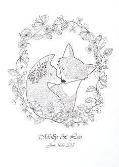 Personalized Print Fox Couple Portrait Custom Illustration Print Black & White Wall Art Unique Gift for Couple Woodland Fox Wedding 5x7 MiKa
