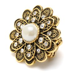 Antique gold plated floral rings with faux pearls, Austrian crystals, and a stretch band for a perfect fit.