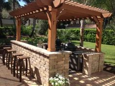 The pergola kits are the easiest and quickest way to build a garden pergola. There are lots of do it yourself pergola kits available to you so that anyone could easily put them together to construct a new structure at their backyard. Pergola D'angle, Wood Pergola Kits, Pergola Ideas For Patio, Pergola Decorations, Curved Pergola, Small Pergola, Modern Pergola, Deck With Pergola, Pergola Lighting