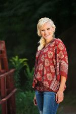 Boho Chic gathered waist red tunic.  layer with vests or wear alone.  fashion trends style inspiration outfit inspiration www.laneylus.com
