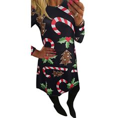 Yoyorule Women Long Sleeve Christmas Print Flared Swing Dress L A *** To view further for this item, visit the image link.