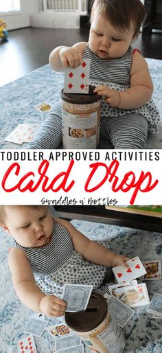 Toddler Approved Activity- Indoor and Outdoor- Card Drop. Great for Fine Motor skill growth too! Toddler Approved Activity- Indoor and Outdoor- Card Drop. Great for Fine Motor skill growth too! Indoor Activities For Toddlers, Toddler Learning Activities, Games For Toddlers, Infant Activities, Preschool Activities, 9 Month Old Baby Activities, Outdoor Activities, Motor Skills Activities, Games For Babies