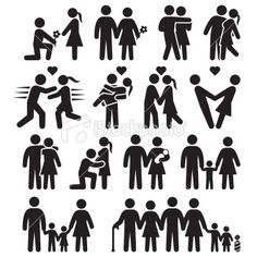 Love and family life black white icon set Royalty Free Stock Vector Art Illustration Map Vector, Free Vector Art, Vector Icons, Blackwork, Stick Figure Family, Family Vector, Relationship Pictures, Relationship Quotes, Relationships