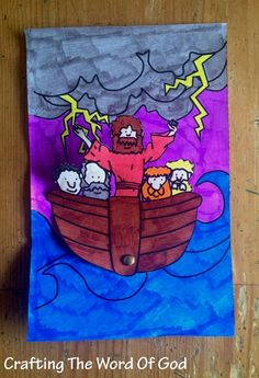 Instructions Print the template. (Template) Color and cut out the boat. Color the large background piece. Attach the boat piece to the background piece with a metal brad. Bible Story Crafts, Bible School Crafts, Bible Crafts For Kids, Preschool Bible, Vbs Crafts, Bible Activities, Church Crafts, Preschool Crafts, Bible Stories