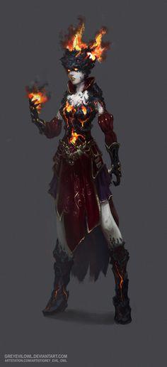fire mage concept, Owl Grey Evil on ArtStation at https://www.artstation.com/artwork/Eb5YA