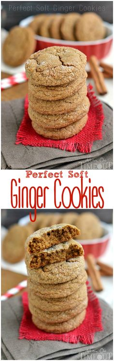 With plenty of spice and warmth, these Perfect Soft Ginger Cookies are just what your holiday season has been waiting for! Delightfully soft and chewy with a crisp sugar coated exterior, these molasses cookies are impossible to resist! // Mom On Timeout #ginger #molasses #cookies #recipe #Christmas #MomOnTimeout